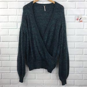 Free People Faux Wrap Oversized Sweater Wool Small